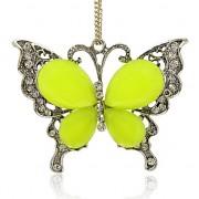 ŽLUTÝ MOTÝL s kamínky LUXUSNÍ Přívěšek stříbrný vintage náhrdelník s přívěškem dárek pro ženu