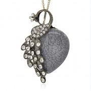 ŠEDÝ LUXUSNÍ Přívěšek PÁV S KAMÍNKY vintage náhrdelník s přívěškem dárek pro ženu