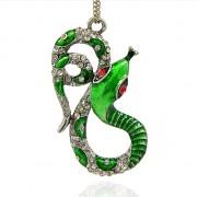 ZELENÝ HAD s kamínky LUXUSNÍ Přívěšek stříbrný vintage náhrdelník s přívěškem dárek pro ženu