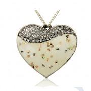 KRÉMOVÉ SRDCE s kamínky LUXUSNÍ Přívěšek keltský vintage náhrdelník s přívěškem dárek pro ženu