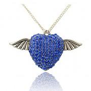 MODRÉ buclaté srdce andělská křídla s kamínky LUXUSNÍ Přívěšek vintage náhrdelník s přívěškem dárek pro ženu