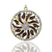 MAGICKÝ KRUH s kamínky LUXUSNÍ Přívěšek zlatý vintage náhrdelník s přívěškem dárek pro ženu