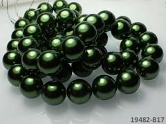 Voskované perly  16mm TMAVĚ ZELENÉ