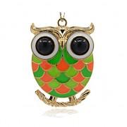 BAREVNÁ SOVA s kamínky zlatá přívěšek vintage náhrdelník s přívěškem dárek pro ženu