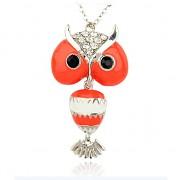 ČERVENÁ SOVA LUXUSNÍ Přívěšek vintage náhrdelník s přívěškem dárek pro ženu
