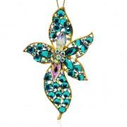 KVĚT s kamínky zlatÝ přívěšek vintage náhrdelník s přívěškem dárek pro ženu