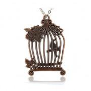 MĚDĚNÁ ptačí klec přívěšek vintage náhrdelník s přívěškem dárek pro ženu