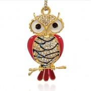 Zlatá červená SOVA s kamínky LUXUSNÍ přívěšek vintage náhrdelník s přívěškem dárek pro ženu