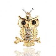 ZLATÁ SOVA s kamínky přívěšek vintage náhrdelník s přívěškem dárek pro ženu