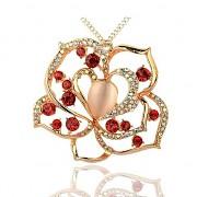 ČERVENÝ KVĚT s kamínky zlatÝ přívěšek vintage náhrdelník s přívěškem dárek pro ženu