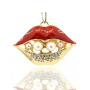 ČERVENÉ rty s kamínky LUXUSNÍ přívěšek vintage náhrdelník s přívěškem dárek pro ženu pusa ústa