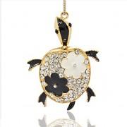ŽELVA s kamínky LUXUSNÍ Přívěšek zlatý vintage náhrdelník s přívěškem dárek pro ženu