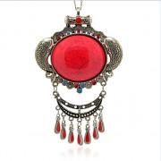 ČERVENÉ magické oko kruh LUXUSNÍ Přívěšek vintage náhrdelník s přívěškem dárek pro ženu