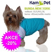 Bundička pro pejska NEW YORK obleček pro psa světle modrý velikost S