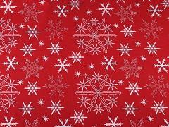 ČERVENÁ vánoční látka vločky aj. LIMITOVANÁ EDICE,  á 1m