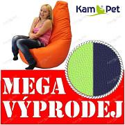 VÝPRODEJ MODRÝ/ZELENÝ NEON Sedací vak KamPet Beanbag 125cm EKOKŮŽE Comfort