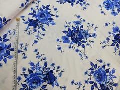 Bílá látka / MODRÉ květy plátno ATEST DĚTI látka kytičky,  á 1m