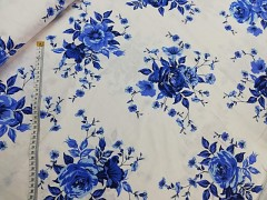 Bílá látka / MODRÉ květy plátno ATEST DĚTI látka kytičky,  celek 0,6m