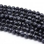 Přírodní vločkový obsidián kuličky 8mm, bal. 5ks