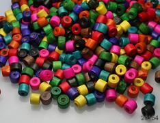 Pestrobarevný MIX korálky dřevěnékroužky 7/6 bal. 10g ± 120ks