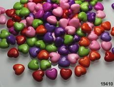 Pestrobarevný MIX korálky srdce bal. 20ks