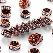 Měděné korálky štrasové rondelky s krystalky 8mm bal. 5ks