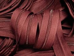 Červený bordó zip nekonečný zipová páska metráž zipu