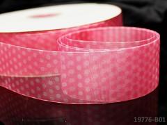 Organzová stuha 38mm PUNTÍKY růžová, á 1m