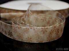 Organzová stuha 20mm KVĚTY krémová, svazek 3m