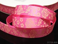 Stuha atlasová 16mm vzor KVĚTY růžová, svazek 2m