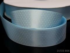 Stuha atlasová 25mm vzor PUNTÍKY sv. modrá, svazek 2m