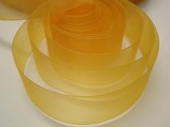 Žlutá stuha organzová 25mm organza stužka šifónová žlutá, svazek 3m