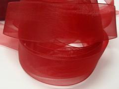 Červená stuha organzová 25mm organza stužka šifónová červená, svazek 3m