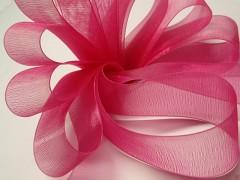 Růžová cyklám stuha organzová 25mm organza stužka šifónová magenta, svazek 3m