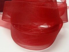 Červená stuha organzová 40mm organza stužka šifónová červená, svazek 3m