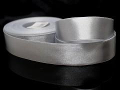 Stříbrná stuha atlasová PERLEŤOVÁ luxusní stuha 25mm stužka stříbrná