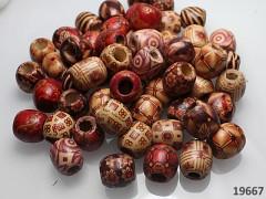 Pestrobarevný MIX korálky velké dřevěné 16/17 bal. 10ks