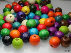 Pestrobarevný MIX korálky dřevěné obří 18mm, bal. 10ks