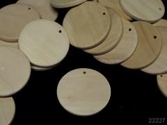 Dřevěný přívěšek kruh 35mm přírodní, bal. 2ks