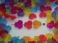 Pestrobarevné korálky akryl kytičky 14mm, bal. 20ks