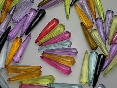 Korálky akrylové broušené dlouhé kapky 39/9, bal. 7ks