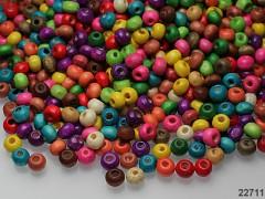 Pestrobarevný mix korálky dřevěné 5/4 bal. 10g ± 270ks