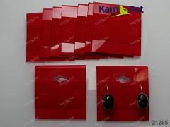 Bižuterní karta / náušnice červený samet, bal. 5ks