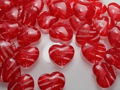 ČERVENÉ korálky  akrylové srdce,  bal. 3ks