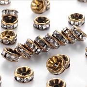 Bronzové korálky štrasové rondelky s krystalky bal. 2ks
