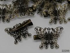 Vlasová spona s filigránovým lůžkem - motýl, á 1ks