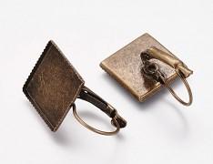 Bronzové visací náušnice s ozubeným lůžkem čtvercové, bal. 2ks