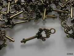 Kovový přívěsek bronzový 3D klíč, bal. 2ks