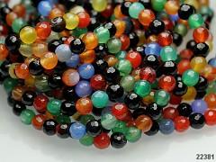 Pestrobarevný ACHÁT broušené kuličky  8mm přírodní minerál
