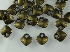 Kovové přívěšky mini srdíčka bronzová, bal. 10ks